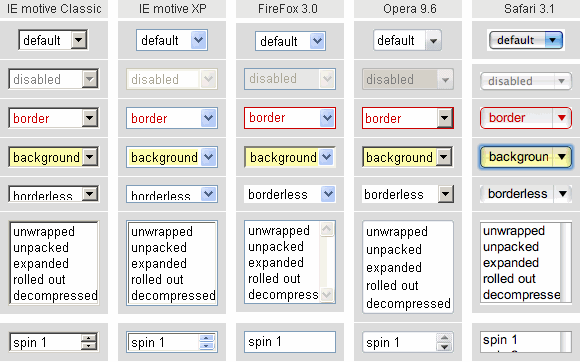 screenshot: form element select in older browsers